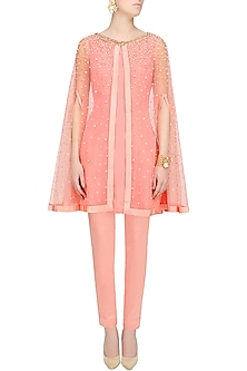 Surreal Rose Embellished Cape, Shirt And Pants Set by Monika Nidhii