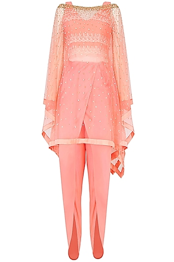 Rose Color Embellished Poncho Cape, Crop Top And Dhoti Pants Set by Monika Nidhii