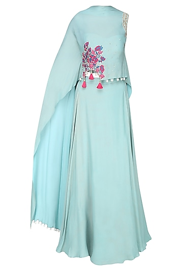 Frost Blue Rosette Motif Embroidered Cape With Matching Skirt by Monika Nidhii