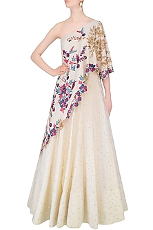 Vanilla Color One Shoulder Gown With Embroidered Aymmetric Cape by Monika Nidhii
