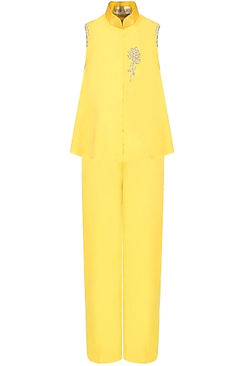 Mustard Yellow Rosette Motif Embroidered Cold Shoulder Top With Pants by Monika Nidhii