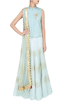 Frost Blue Sequinned And Floral Embroidered Lehenga Set by Monika Nidhii