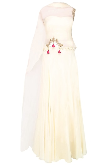 Vanilla Color Floral Cutwork Cape With Matching Skirt by Monika Nidhii