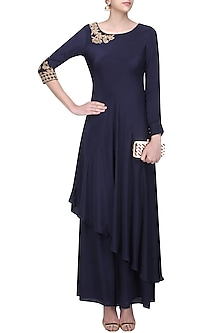 Midnigh Blue Floral Embroidered Asymmetric Kurta with Sharara Pants by Monika Nidhii