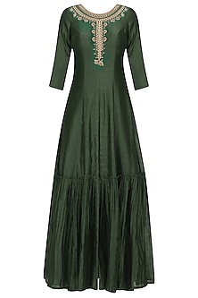 Green Floral Embroidered Anarkali Kurta and Pants Set by Monika Nidhii