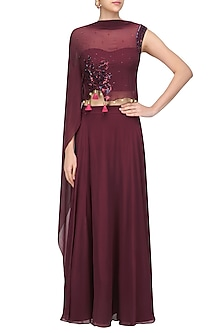 Wine Floral Embroidered One Sleeved Cape and Skirt Set by Monika Nidhii