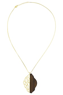 Gold Plated Half and Half Wood and Gold Cut Work Necklace by Mirakin