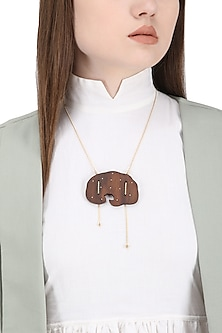 Gold Plated Wood and Gold String Necklace by Mirakin