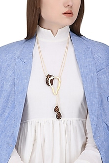Gold Plated Abstract Design Necklace by Mirakin