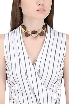 Gold Plated Necklace with Five Different Coin Shape Designs by Mirakin
