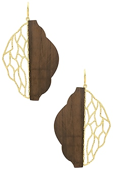 Gold Plated Identitical and Symmetrical Work Of Gold and Wood Earrings by Mirakin