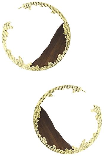 Gold Plated Wave Pattern Earrings by Mirakin