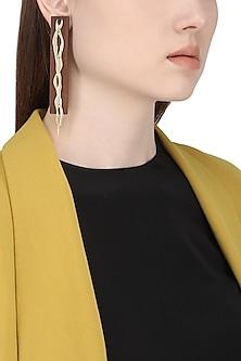 Gold Plated Intertwisted Pattern Earrings by Mirakin