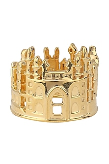 Gold Plated Mumbai Cityscape Ring by Mirakin