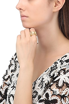 Gold Plated New York Cityscape Ring by Mirakin