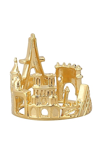 Gold Plated Paris Cityscape Ring by Mirakin