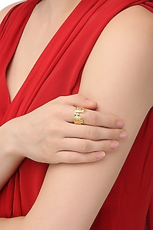 Gold Plated Golden Temple Landscape Ring by Mirakin