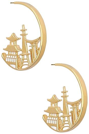 Gold Plated Japan Landscape Earrings by Mirakin