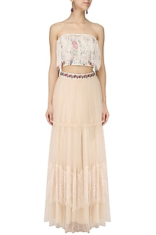 Ivory Off-Shoulder Embroidered Crop Top with Lehenga Set by Monika Nidhii