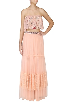 Salmon Pink Off-Shoulder Embroidered Crop Top with Lehenga Set by Monika Nidhii