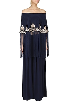 Midnight Blue Off-Shoulder Embroidered Cape with Pants Set by Monika Nidhii