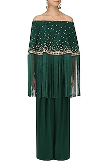 Bottle Green Off-Shoulder Cape and Pants Set by Monika Nidhii