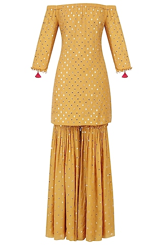 Mustard Off-Shoulder Embroidered Kurta and Sharara Set by Monika Nidhii