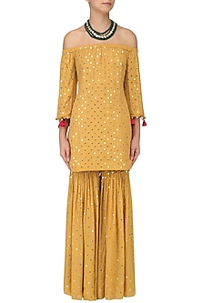 Mustard Off-Shoulder Embroidered Kurta and Sharara Set by Monika Nidhii