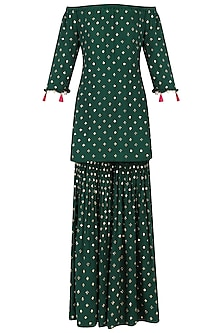 Bottle Green Off-Shoulder Embroidered Kurta and Sharara Set by Monika Nidhii