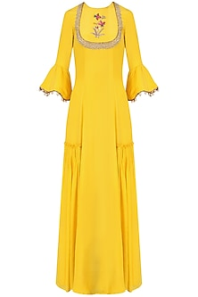 Yellow Embroidered Anarkali Set by Monika Nidhii