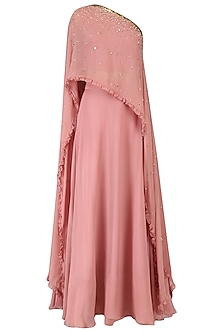 Pink One Shoulder Embroidered Cape with Lehenga Set by Monika Nidhii