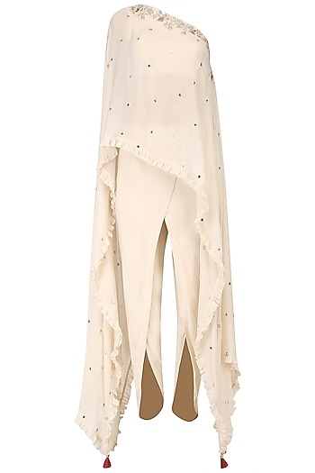 Ivory One Shoulder Embroidered Cape with Dhoti Pants Set by Monika Nidhii
