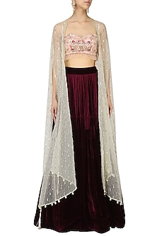 Pink Floral Embroidered Blouse with Wine Lehenga Set with Cape by Monika Nidhii
