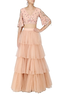 Salmon Pink Floral Embroidered Crop Top and 4 Tier Skirt by Monika Nidhii