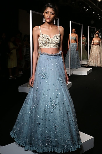 Frost Blue Sequins Embroidered Frill Lehenga Set by Monika Nidhii