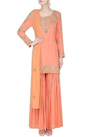 Peach Floral Sequins and Tar Embroidered Kurta and Sharara Pants Set by Malasa