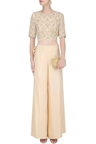Pink Floral Embroidered Crop Top and Pants Set by Malasa