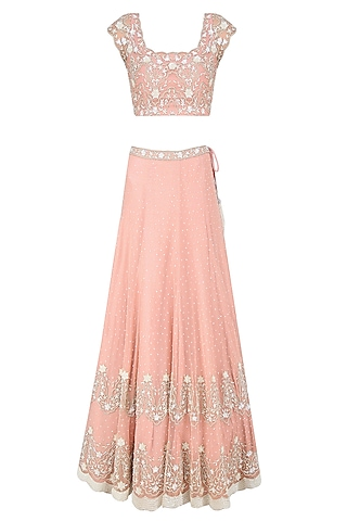 Pink Sequins and Pearl Embroidered Lehenga Set by Malasa