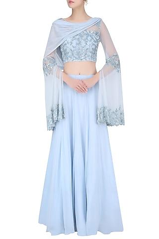 Ice Blue Floral Embroidered Lehenga Set by Malasa