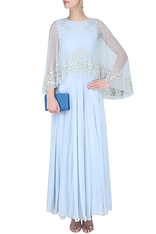 Ice Blue Floral Embroidered Cape Anarkali Set by Malasa
