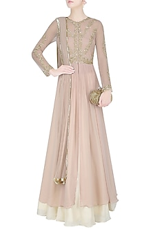 Champagne Color Floral Embroidered Anarkali and Cream Skirt Set by Malasa