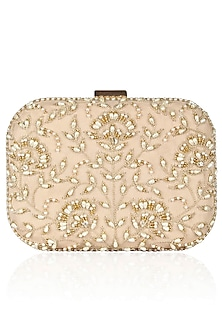 Nude Pink Floral Pearl Embroidered Square Box Clutch by Malasa