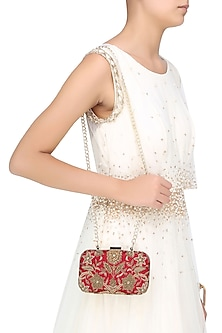 Red And Gold Floral Zardozi And Sequins Embroidered Box Clutch by Malasa