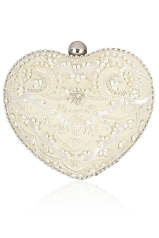 Ivory Pearls And Beads Embroidered Heart Shaped Clutch by Malasa