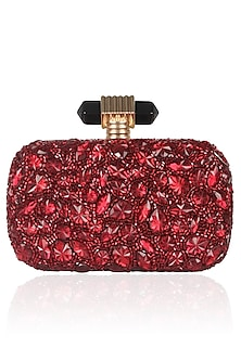 Burgundy Beads And Stone Embroidered Box Clutch by Malasa