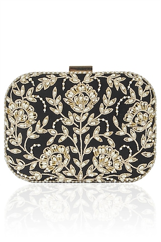 Black Floral Pearl Embroidered Square Box Clutch by Malasa
