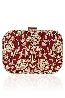 Maroon Floral Pearl Embroidered Square Box Clutch by Malasa