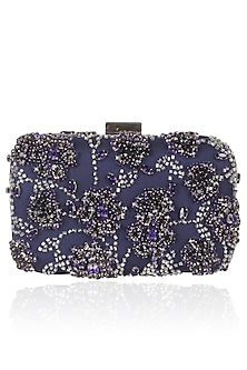 Blue Floral Stone And Beads Embroidered Box Clutch by Malasa