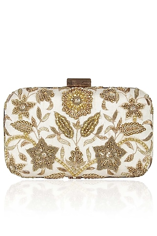 Ivory And Gold Floral Zardozi And Sequins Embroidered Box Clutch by Malasa