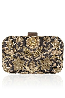 Black And Gold Floral Zardozi And Sequins Embroidered Box Clutch by Malasa
